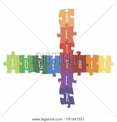 Better together logotype design made of puzzle vector colorful illustration isolated on white background. Crossed puzzled elements, colorful unity symbol cross sign