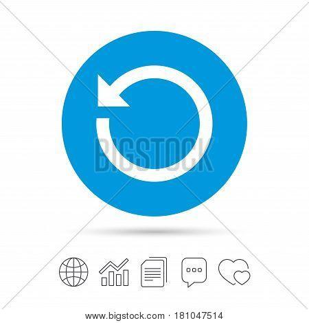 Repeat icon. Refresh symbol. Loop sign. Copy files, chat speech bubble and chart web icons. Vector