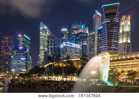 Singapore - July 09: The Merlion Fountain Lit Up At Night On July 09, 2015 In Singapore. Singapore I
