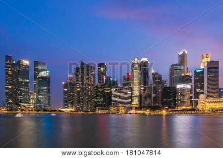 Singapore - July 10: Singapore Business Buildings Area At Night On July 10, 2015 In Singapore. Singa