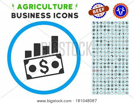 Money Charts rounded icon with agriculture business icon pack. Vector illustration style is a flat iconic symbol inside a circle, blue and gray colors. Designed for web and software interfaces.
