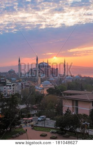 Ayasofya a former Orthodox patriarchal basilica later a mosque and now a museum in Istanbul Turkey