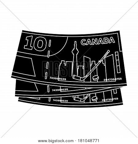 Canadian Dollar. Canada single icon in black style vector symbol stock illustration .