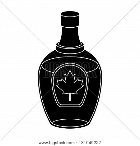 Canadian maple syrup in a bottle. Canada single icon in black style vector symbol stock illustration .