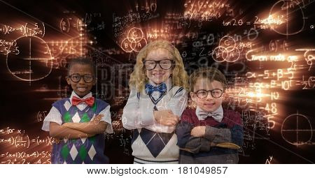 Digital composite of Happy school children standing arms crossed against glowing equations