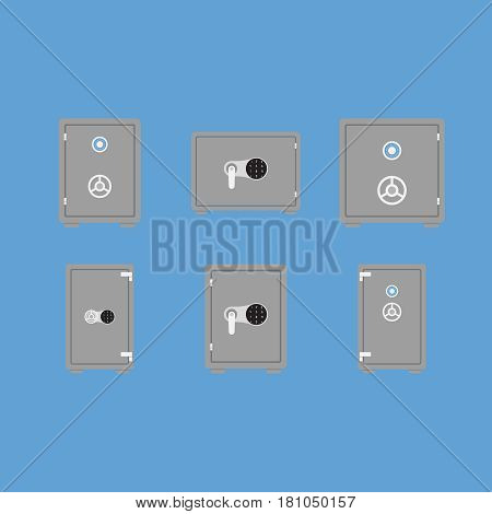 Safe on background vector concept. Protection illustration in modern flat style. Color picture for design web site, web banner, printed material. Safety flat icon set.