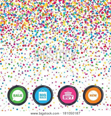 Web buttons on background of confetti. Sale speech bubble icon. Buy cart symbol. New star circle sign. Big sale shopping bag. Bright stylish design. Vector