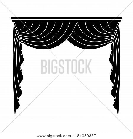 Curtains with drapery on the cornice.Curtains single icon in blake style vector symbol stock illustration .