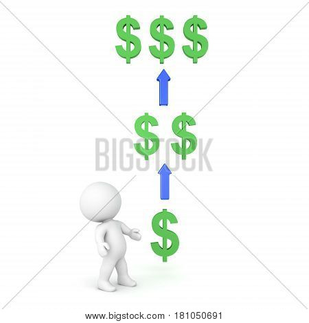 3D Character looking at multiplying money. Image depicting investing or owning a share or receiving intrest.