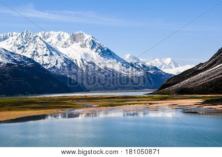 Beautiful Tibet scenery in china- ranwu lake is the largest lake in eastern Tibet. north of the famous Laguna glacier. Peak is the year-round, overlapping ups and downs of the snow-capped mountains.