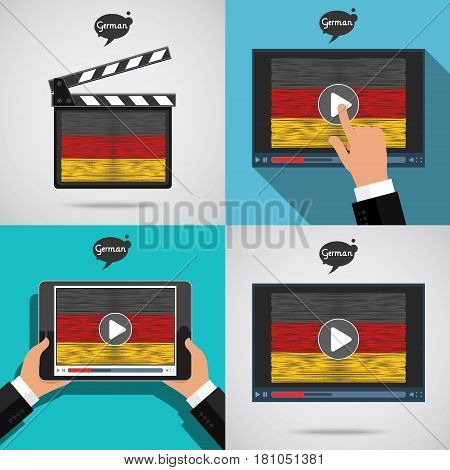 Concept of learning languages. Study German set. Movie production clapper board and screen with hand drawn German flag. Film in German.