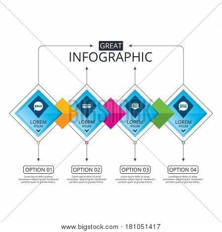 Infographic flowchart template. Business diagram with options. Sale icons. Special offer speech bubbles symbols. Buy now arrow shopping signs. Available now. Timeline steps. Vector
