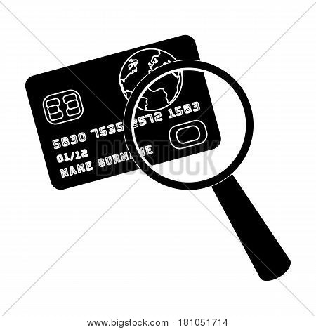 Plastic credit card with a magnifying glass. Detective looking for fingerprints.Detective single icon in blake style vector symbol stock web illustration.