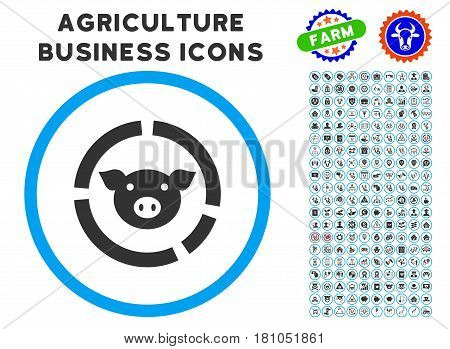 Pig Diagram rounded icon with agriculture business glyph kit. Vector illustration style is a flat iconic symbol inside a circle, blue and gray colors. Designed for web and software interfaces.