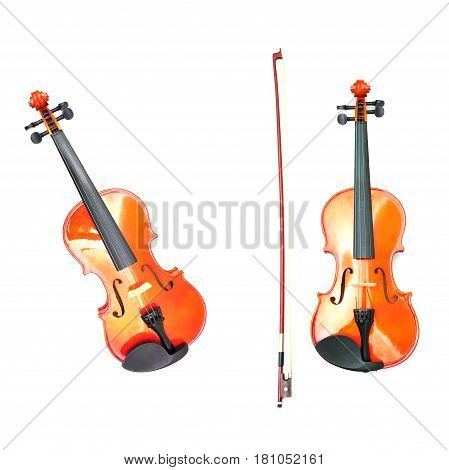 Classic Violin for musicle isolated on white background