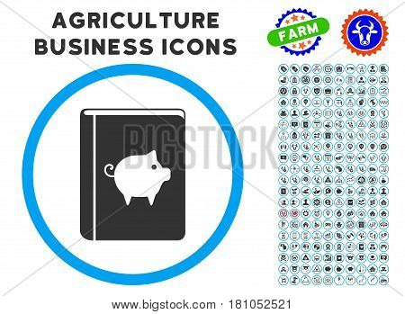 Pig Handbook rounded icon with agriculture business icon set. Vector illustration style is a flat iconic symbol inside a circle, blue and gray colors. Designed for web and software interfaces.