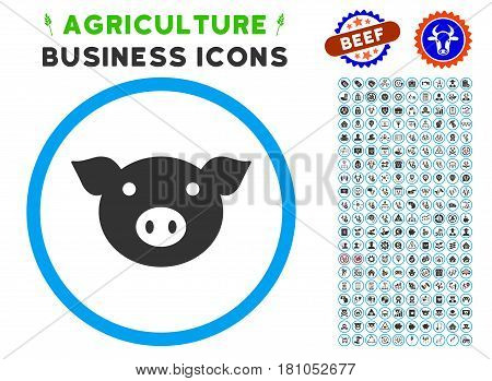 Pig Head rounded icon with agriculture business icon kit. Vector illustration style is a flat iconic symbol inside a circle, blue and gray colors. Designed for web and software interfaces.