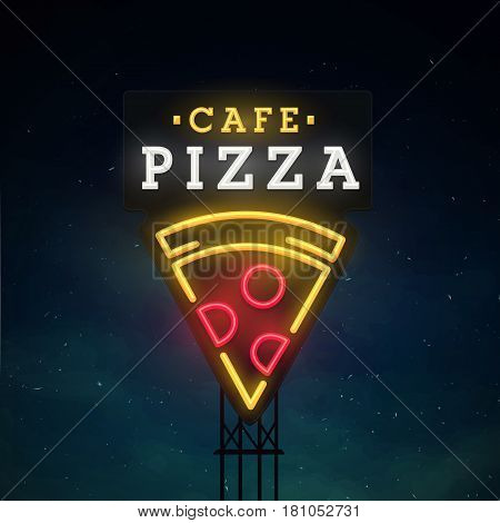 Pizza road sing. City sign neon. Logo, emblem. Pizza neon sign, bright signboard, light banner.