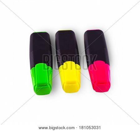 Colorful pens isolated on white background .