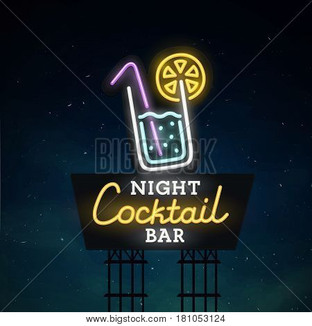 Cocktail  road sing. City sign neon. Logo, emblem. Cocktail  neon sign, bright signboard, light banner.