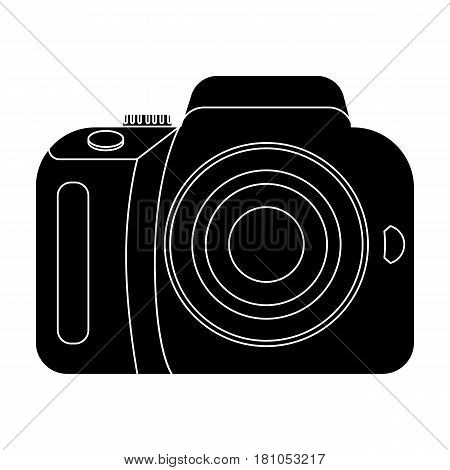 Camera detective. Camera, for shooting the scene, and to commit murder.Detective single icon in blake style vector symbol stock web illustration.