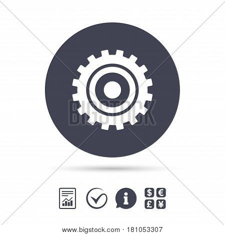 Cog settings sign icon. Cogwheel gear mechanism symbol. Report document, information and check tick icons. Currency exchange. Vector