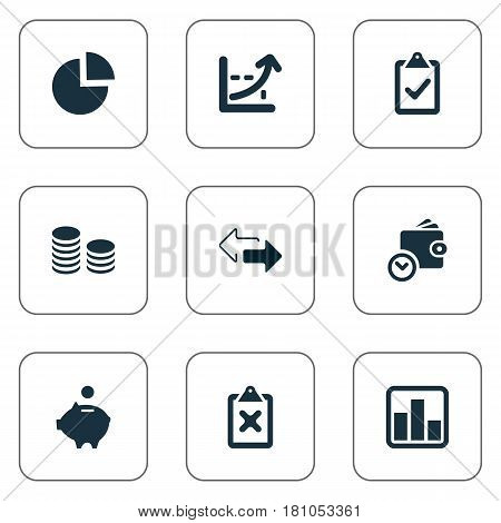 Vector Illustration Set Of Simple Investment Icons. Elements Supervision List, Piggy Bank, Rate And Other Synonyms Growth, Discount And Saving.