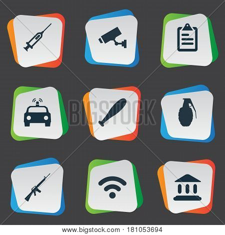 Vector Illustration Set Of Simple Offense Icons. Elements Baseball Bat, Vaccine, Checklist And Other Synonyms Library, Camera And Safety.