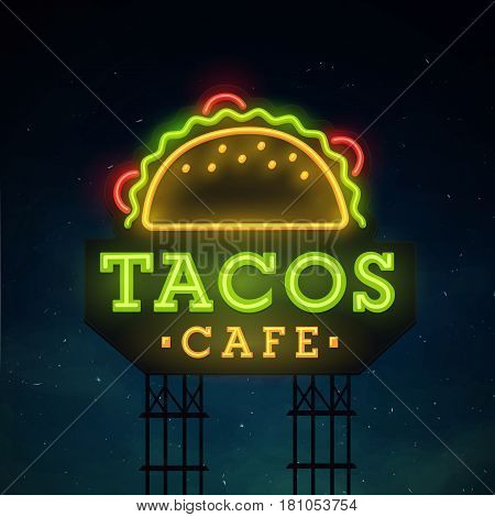 Tacos road sing. City sign neon. Logo, emblem. Tacos neon sign, bright signboard, light banner.
