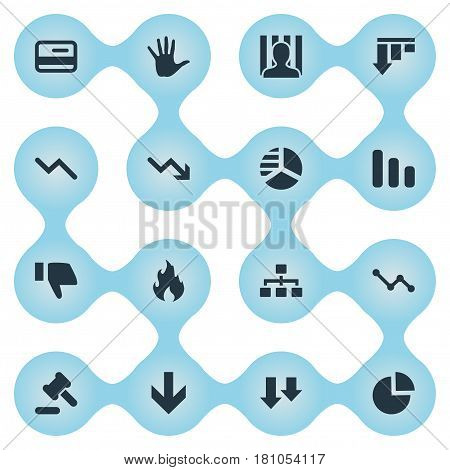 Vector Illustration Set Of Simple Trouble Icons. Elements Tribunal, Line Chart, Fire And Other Synonyms Arrows, Pie And Downward.