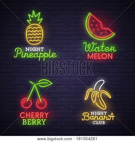 Set neon sign. bright signboard, light banner. Neon logo, emblem. Fruit neon