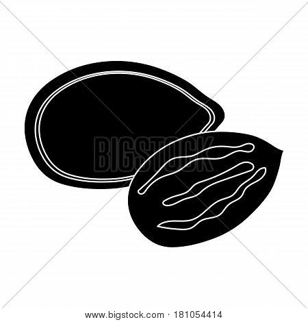 Pumpkin seeds.Different kinds of nuts single icon in black style vector symbol stock web illustration.