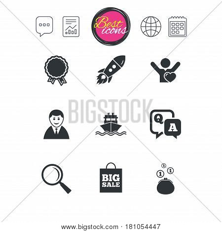 Chat speech bubble, report and calendar signs. Online shopping, e-commerce and business icons. Startup, award and customers like signs. Cash money, shipment and sale symbols. Vector