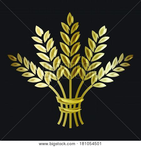 Golden ripe wheat sheaf on black background. Vector decorative element brand icon or logo template.