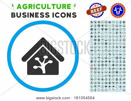Plant Glasshouse rounded icon with agriculture business icon package. Vector illustration style is a flat iconic symbol inside a circle, blue and gray colors. Designed for web and software interfaces.