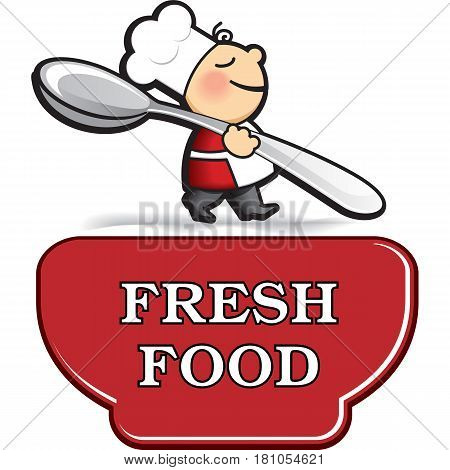 Little cartoon cook in apron with very big spoon near big plate or cup. Vector logo template for restaurant cafe or food product.
