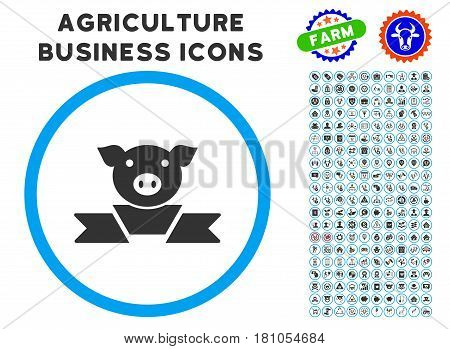 Pork Award Ribbon rounded icon with agriculture business glyph kit. Vector illustration style is a flat iconic symbol inside a circle, blue and gray colors. Designed for web and software interfaces.