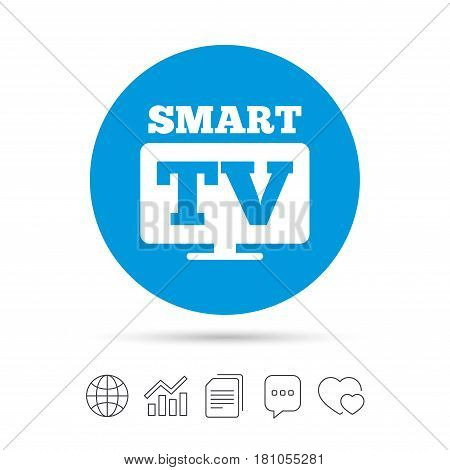 Widescreen Smart TV sign icon. Television set symbol. Copy files, chat speech bubble and chart web icons. Vector