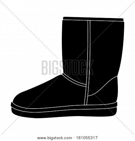 Warm winter blue ugg boots. Comfortable winter shoes for everyday wear .Different shoes single icon in black style vector symbol stock web illustration.