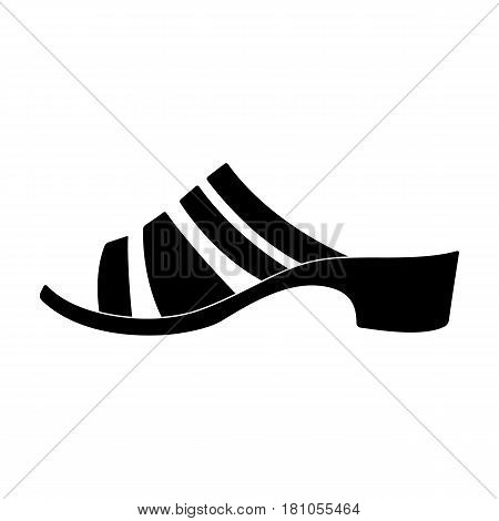 Brown leather women summer heels. Shoes for walking in the Park .Different shoes single icon in black style vector symbol stock web illustration.