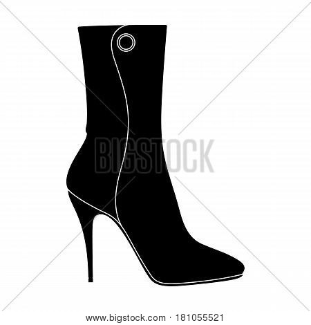 Demi tall womens boots high heel.Different shoes single icon in black style vector symbol stock web illustration.