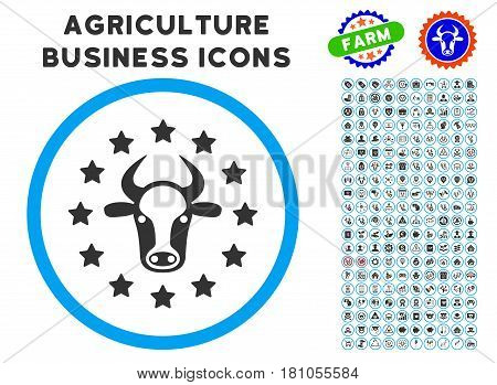 Starred Bull rounded icon with agriculture business icon clipart. Vector illustration style is a flat iconic symbol inside a circle, blue and gray colors. Designed for web and software interfaces.