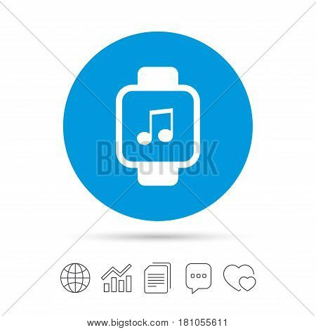 Smart watch sign icon. Wrist digital watch. Musical note symbol. Copy files, chat speech bubble and chart web icons. Vector
