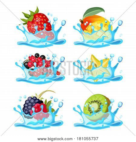 Fresh strawberry, healthy mango, black and red currant, organic carambole, wild blackberry and raspberry and green kiwi in water splashes vector illustration logo design isolated on white background