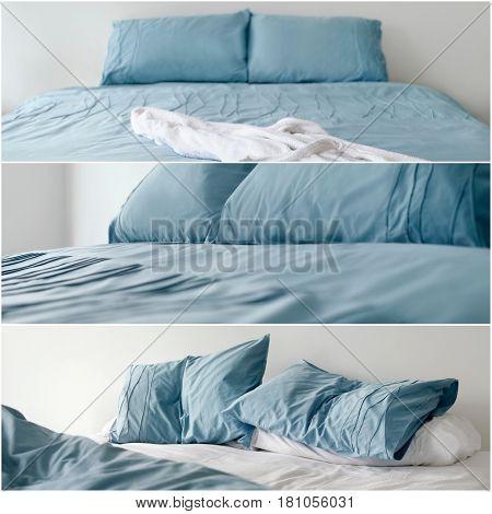 Blue Duvet Bedding Collage