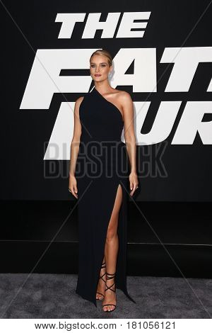 "NEW YORK-APR 8: Model Rosie Huntington-Whiteley attends the premiere of ""The Fate of the Furious"" at Radio City Music Hall on  April 8, 2017 in New York City."