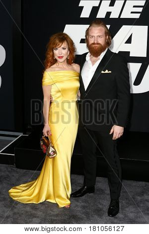 """NEW YORK-APR 8: Actor Gry Molvaer Hivju and Kristofer Hivju attend the premiere of """"The Fate of the Furious"""" at Radio City Music Hall on  April 8, 2017 in New York City."""