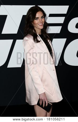 NEW YORK-APR 8: Model Hilary Rhoda attends the premiere of