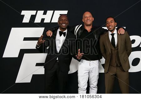 NEW YORK-APR 8: (L-R) Actors Tyrese Gibson, Vin Diesel and Christopher 'Ludacris' Bridges attend the premiere of