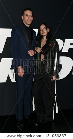 NEW YORK-APR 8: Rapper G-Eazy (L) and Kehlani attend the premiere of